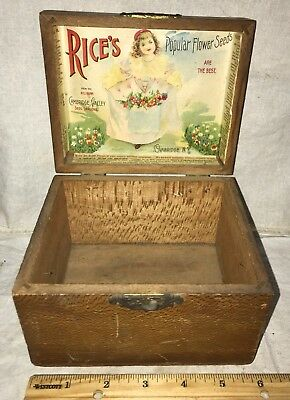 Antique Rices Flower Seed Wooe Box Cambridge Ny Vintage Farm Victorian Girl Old