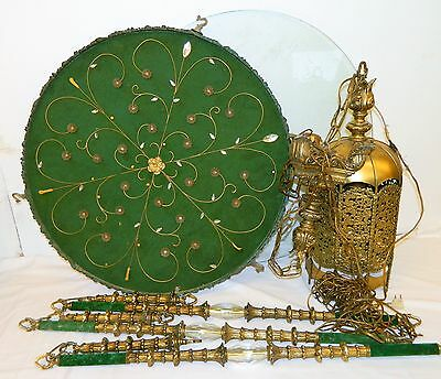 Vtg Swag Light Ceiling Hanging Lamp & Table Brass Mid Century Modern MCM Ornate