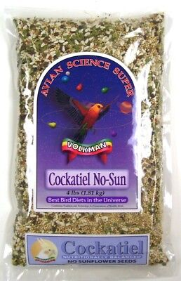 Volkman Seed Avian Science Super Cockatiel No Sunflower Balanced Diet Food 4 lbs