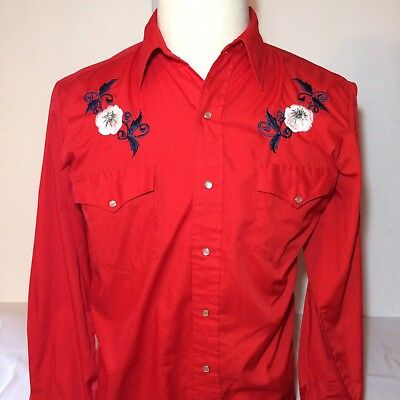 Chute #1 Vintage Cowboy Western Embroidered Pearl Snap Shirt, Men's medium B