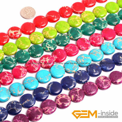 "16mm Colorful Sea Sediment Jasper Coin Loose Beads For Jewelry Making 15"" Strand"