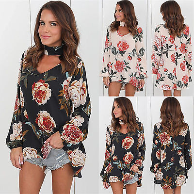 New Womens Choker V Neck Floral T-Shirt Ladies Loose Tops Blouse 6-20 Plus Size