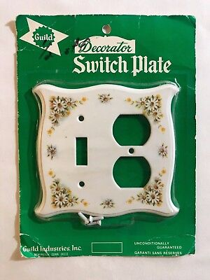 Vintage Guild Decorator Switch Plate Outlet Cover Daisy Shabby Chic Plastic NOS