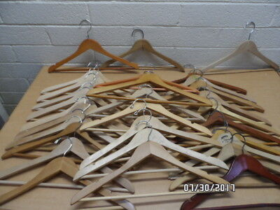 Lot of 30 Assorted Vintage Wood Hangers Great Condition