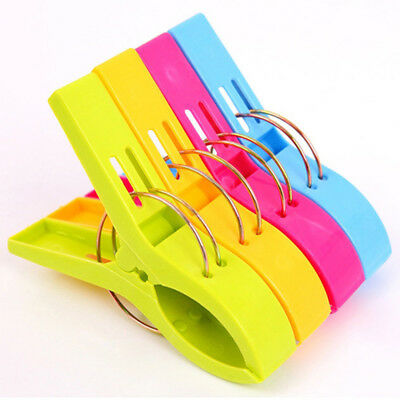 4Pcs Large Bright Colour Plastic Beach Towel Pegs Clips to Sunbed Tools Home HOT