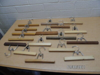 Lot of 17 Assorted Wood Pant Hangers