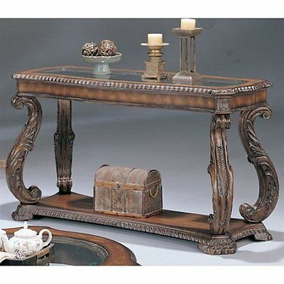 Coaster Sofa Table with Hand Carved Leaf in Antique Finish, 3893 New