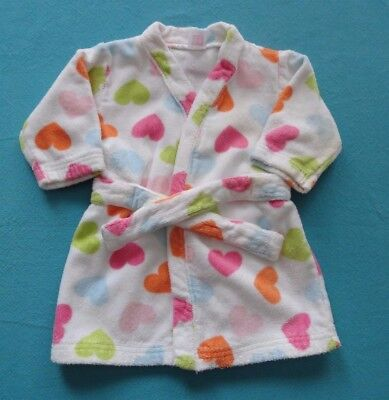 Carter's Infant Girl 100% Cotton Hearts Bathrobe Swimsuit Cover Up O-9 Months