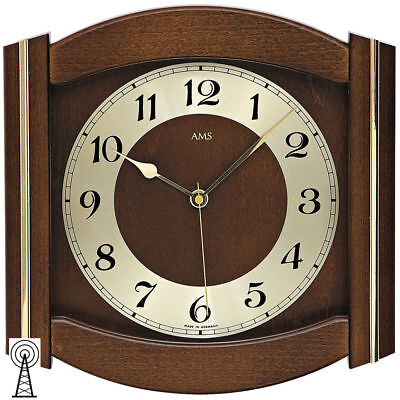 AMS 5822/1 Wall Clock RC Mineral Glass Solid Wood Walnut Color