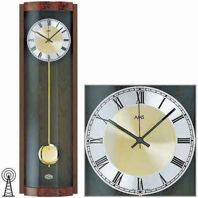 AMS 5087/1 Wall Clock RC Pendulum, Wooden Housing Walnut Color Painted