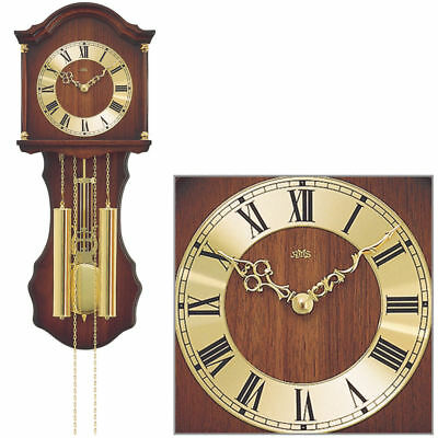 AMS 211/1 Wall Clock with Pendulum, Wooden Housing Walnut Color Painted
