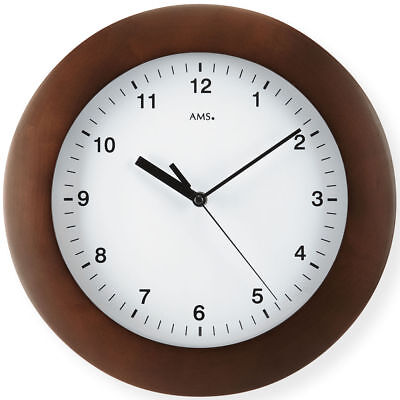 AMS 5904/1 Wall Clock RC MINERAL GLASS WALNUT COLOR PAINTED