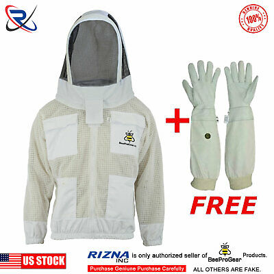 3 Layer beekeeping jacket bee outfit hat  ventilated protective veil hat hood-1