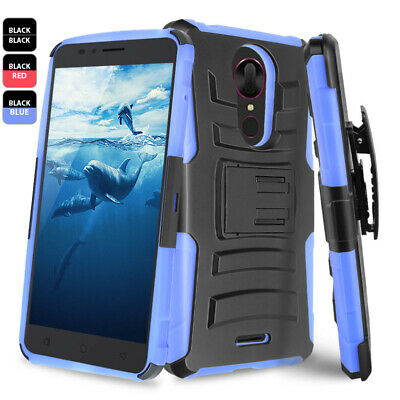 For T-Mobile REVVL Plus Rugged Phone Case Cover Holster+Tempered Glass Screen