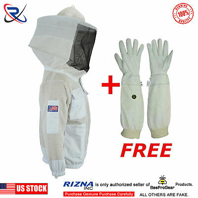 3 Layer beekeeping jacket bee outfit hat  ventilated protective Round veil-10