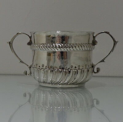 17th Century William & Mary Antique Sterling Silver Porringer London 1694