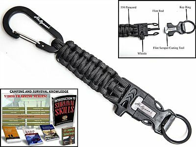 Holtzman's #1 Best paracord keychain carabiner survival tool (Black Carabiner)