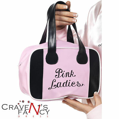 Grease Pink Ladies Bowling Bag Licensed Fancy Dress Accessory Frenchy Rizzo 50s