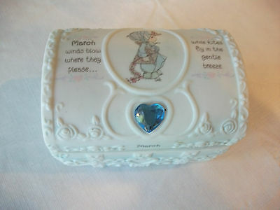 ENESCO 1995 Precious Moments March Birthstone Box with Prayer Book