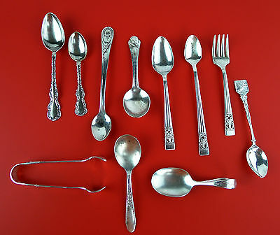 Vintage (11) Antique Sterling 925 & Silver Plated Spoons & Souvenir Spoons  G31