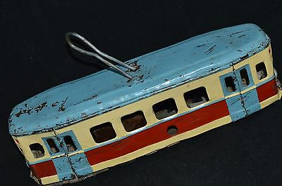 ANTIQUE TOY 1940s !!! VTG Russian Soviet car TROLLEY BUS old СССР metal FRICTION
