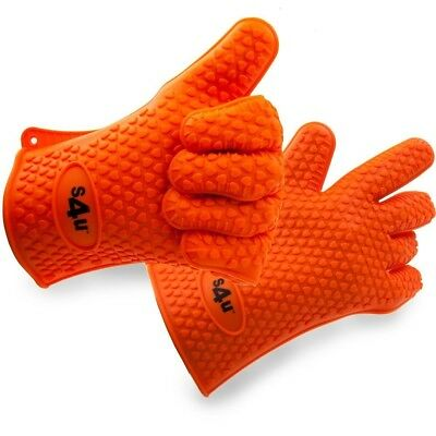 S4U Pair of Extra Heavy Duty Silicone Oven Gloves Heat Resistant - use in the