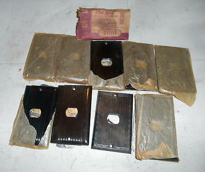 Vintage Hubbell Uniline  Bakelite Brown Single Gang Switch Covers NOS Lot of 9