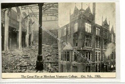 (Ld6022-183) The Great Fire, Merchant Venturers College 1906, BRISTOL Unused VG
