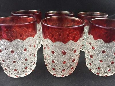 Set of 6 Bryce Brothers EAPG Glass DAISY & BUTTON Ruby Flashed Tumbler Tumblers