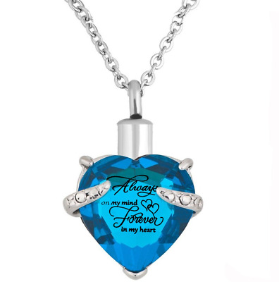 Heart Cremation Urn Necklace for Pet Human Ashes Urn Pendant Gift Box Sky Blue