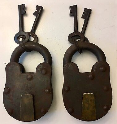 RARE SET OF 2 LARGE IRON & BRASS VINTAGE WORKING PADLOCKS WITH KEYS Lock Padlock