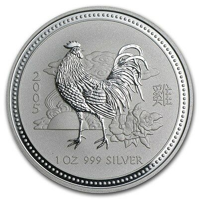 2005 Australian Lunar Year of the Rooster 1 oz.  Silver Coin  *BU* ~ Series 1