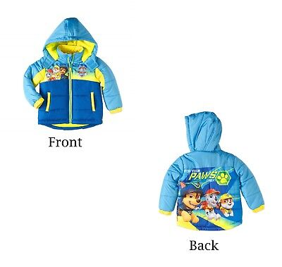 NEW Toddler Boys Paw Patrol Jacket Coat 2T 3T 4T Hood Puffy Chase Marshall