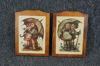 Vintage Manchester Wood Handcrafted Prints Pair Of Hummel Plaques