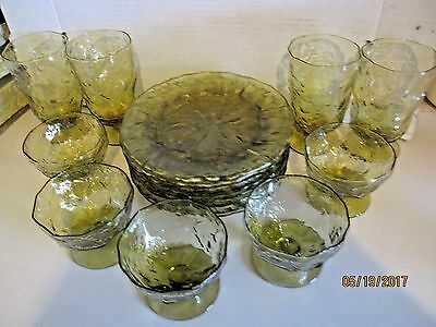 Vintage Lido Milano Anchor Hocking Green Crinkle Dishes and Glasses
