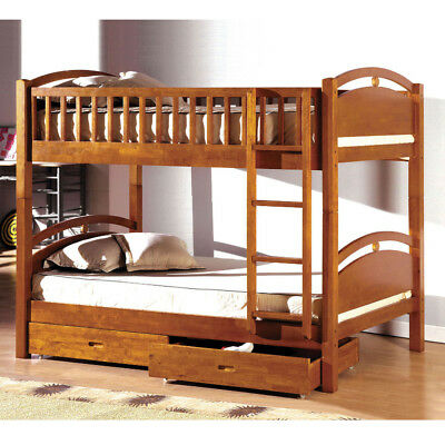 California Youth Kids Twin over Twin Wooden Bunk Bed Underneath Drawers Oak