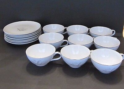 Kaysons Vintage Golden Rhapsody 9 Cups and 7 Saucers Fine China 1961