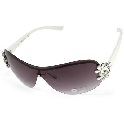 c5b6cb46ee G by Guess GGU1111 White Grey Gradient Women s Shield Crystal Bling  Sunglasses