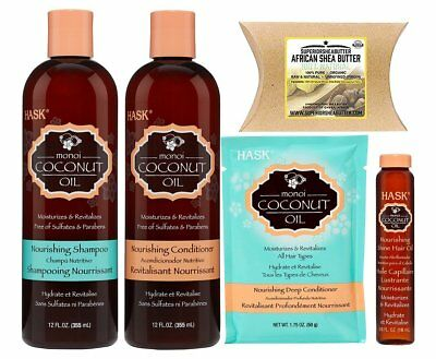 Hask Monoi Coconut Oil Haircare 4set with Superior Shea Butter