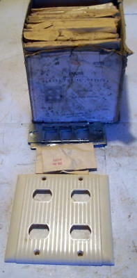 10 Vintage Bryant Ivory Two Gang 4 Devices Light Switch Covers Bakelite NOS