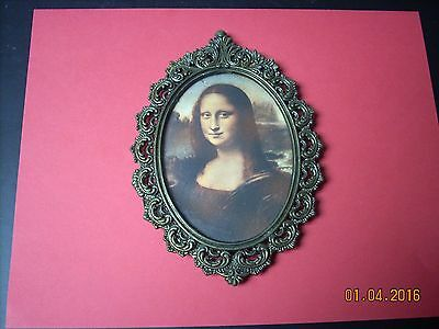 Antique Victorian Ornate Metal Picture Frame W/ Old Print=  ITALY ~ NR