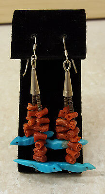 Branch Coral Beaded Turquoise Bird Fetishes Native American Indian Earrings Set