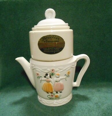 Vintage Porcelier 3-Pc Vitrified China Dutch Boy & Girl Drip Coffee Maker Pot