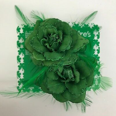 St Patricks Day Hair Accessory Green Flowers Hair Clips Feather Glitter Set of 2