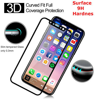 100% Tempered Glass Pro + Screen protector protection For Apple iPhone X - Black