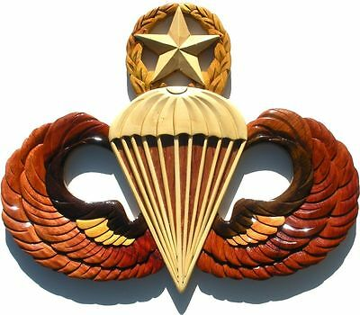 ARMY MASTER PARACHUTIST BADGE   JUMP WINGS  Handcrafted Wood Art Military Plaque