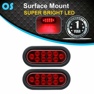 "2X 10 LED 6.5"" Oval Red Sealed Brake Stop Tail Back Lights 12V Truck Trailer RV"
