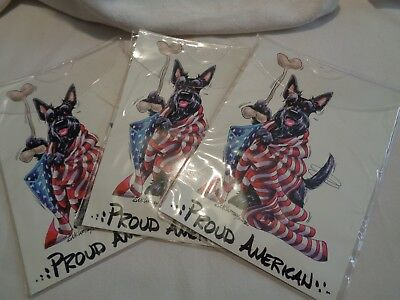 set of 3 McCartney's Proud American Dog Decals black scottie wrapped in flag