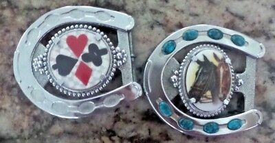 """X 2 Vintage Horse Shoe - Horse and Cards Belt Buckle Belt Size approx. 2"""" each"""