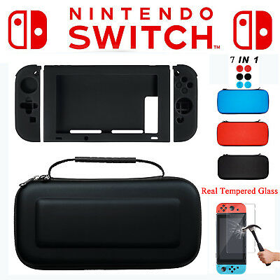 For Nintendo Switch 7in1 Travel Carrying Case Bag+Real Tempered Glass + Full kit